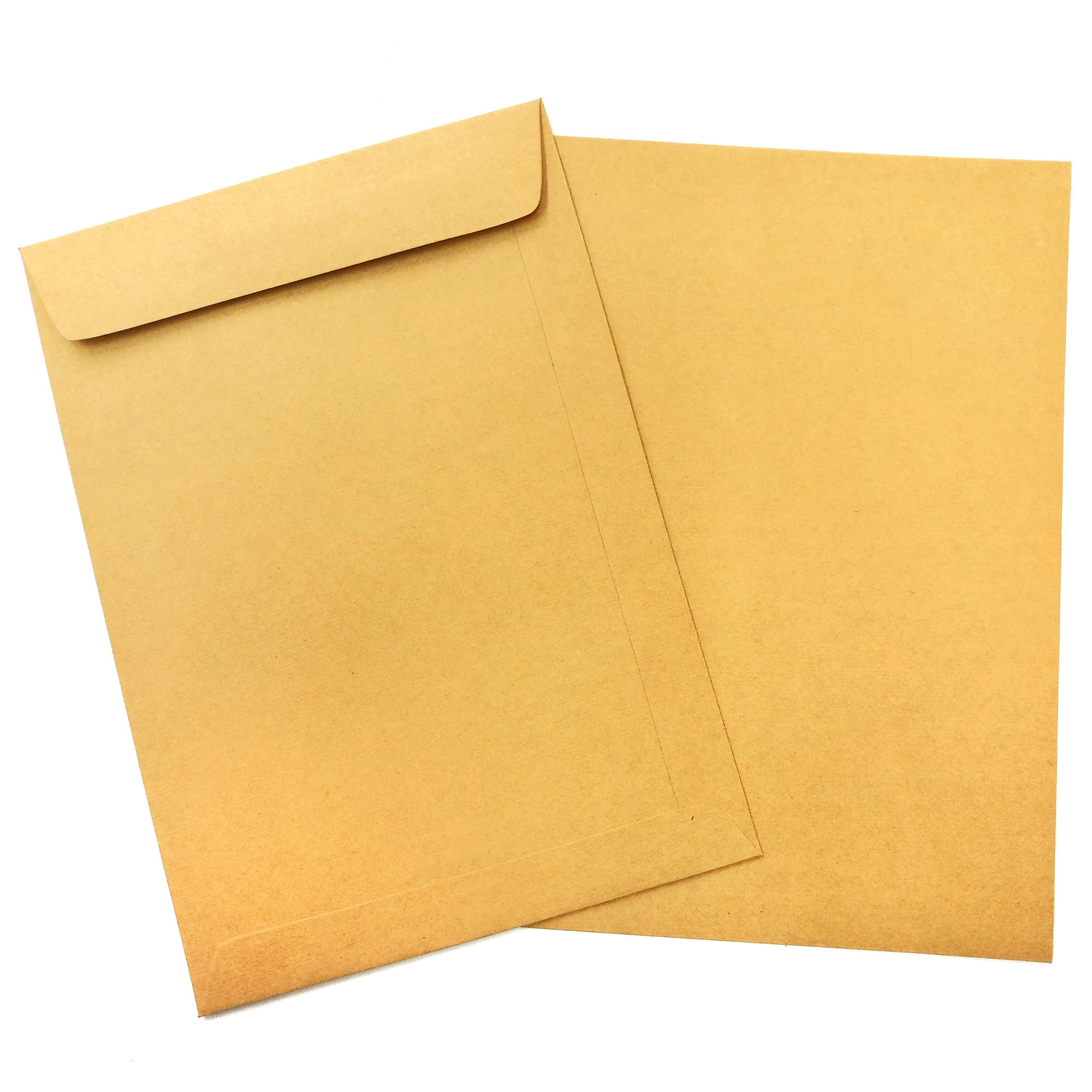 Two envelopes made with Domtar Brown Kraft Envelope paper