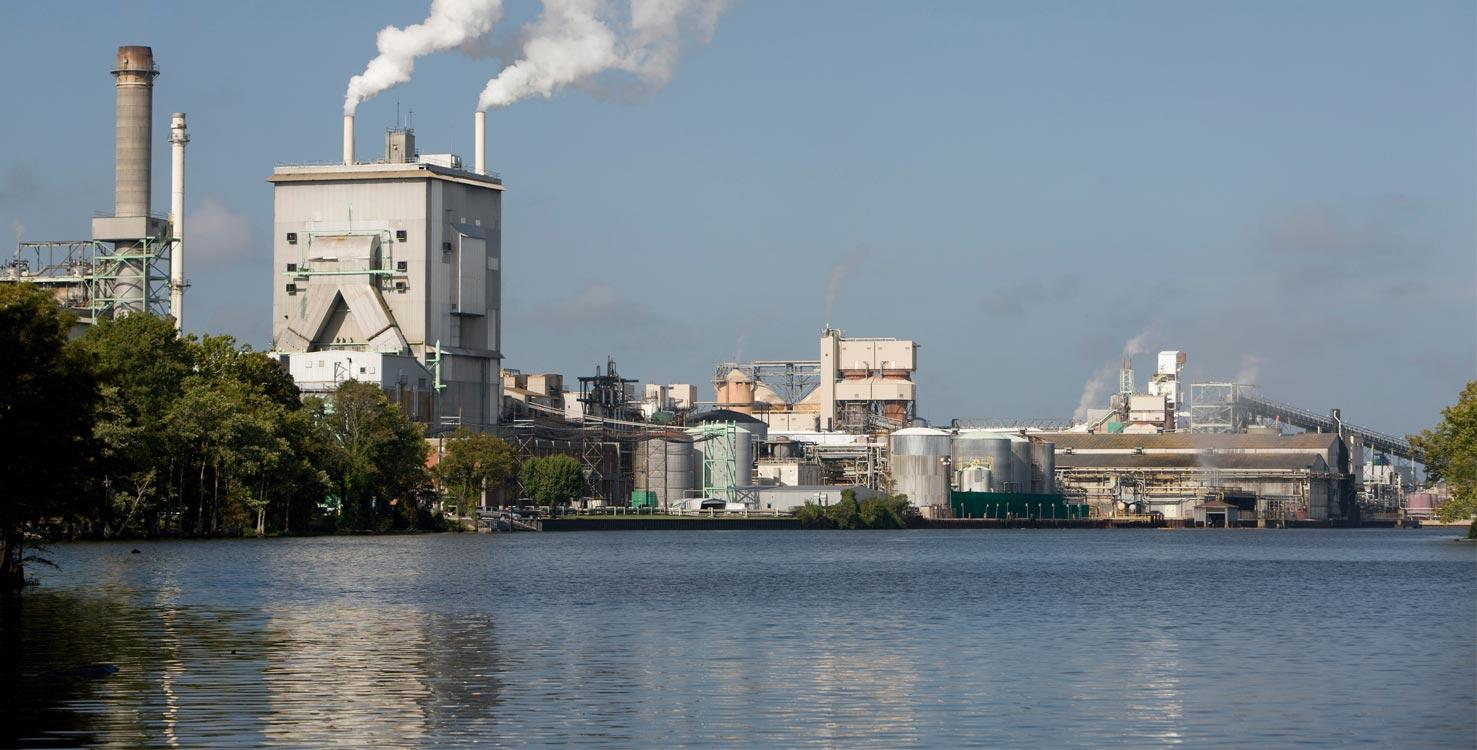 View of the Domtar Mill in Plymouth, North Carolina, USA.
