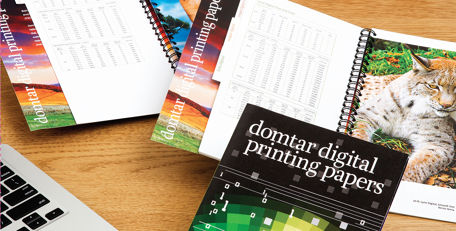 Samples of Domtar Digital Printing Papers