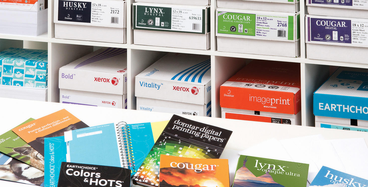 A display of various Domtar papers